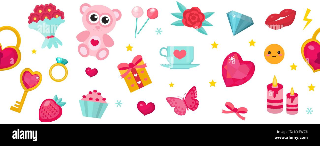 Happy Valentine S Day Banner Set Of Cute Icons Romance Love Stock