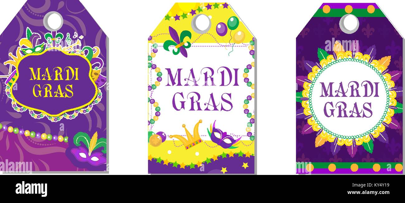 Mardi gras carnival tags set labels collection with feather mask labels collection with feather mask bunting beads holiday in the new orleans fat tuesday background templates for your design vector illustration maxwellsz