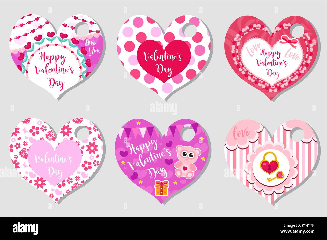 Happy Valentine S Day Tags Set In The Shape Of A Heart Labels Stock