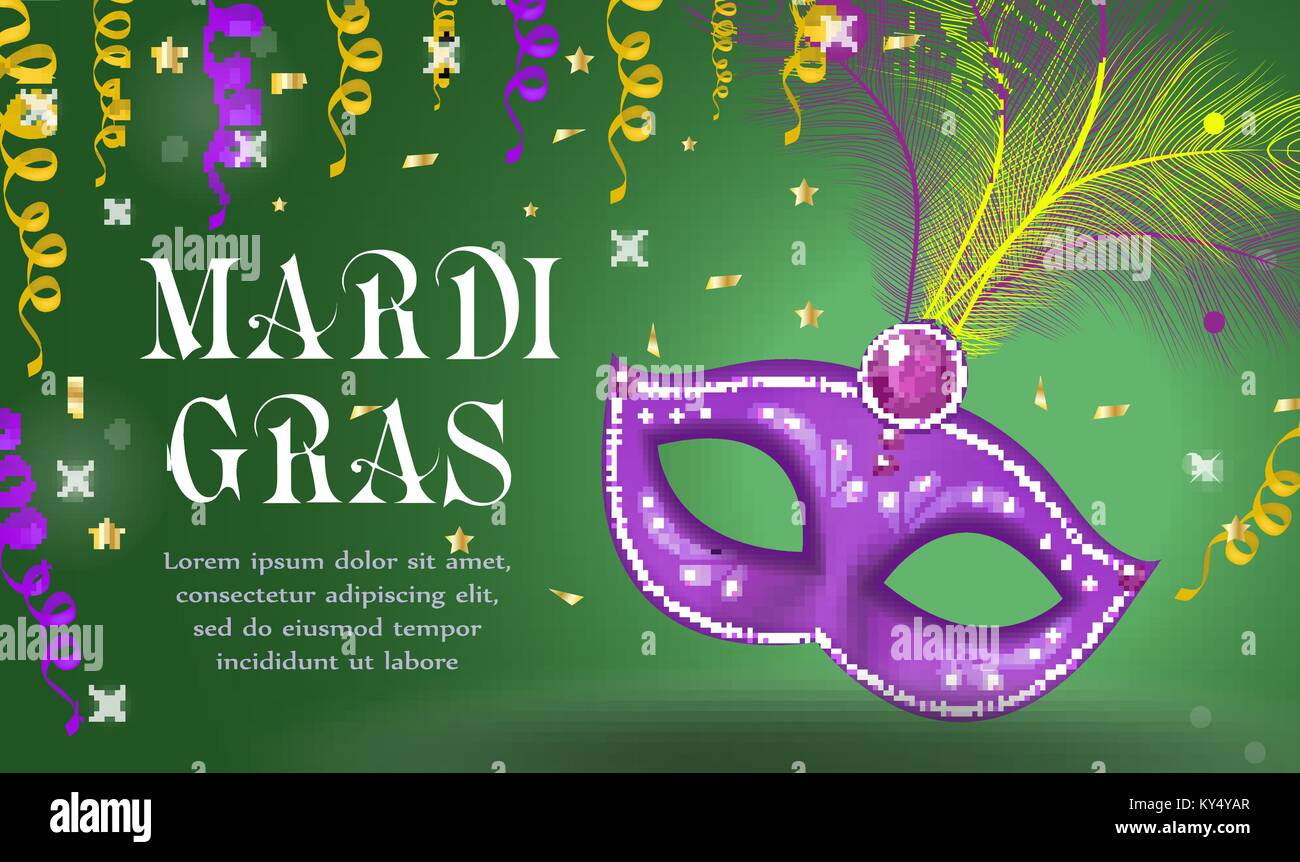 Mardi Gras carnival poster, invitation, greeting card. Happy Mardi Gras Template for your design with mask feathers. Holiday in New Orleans.