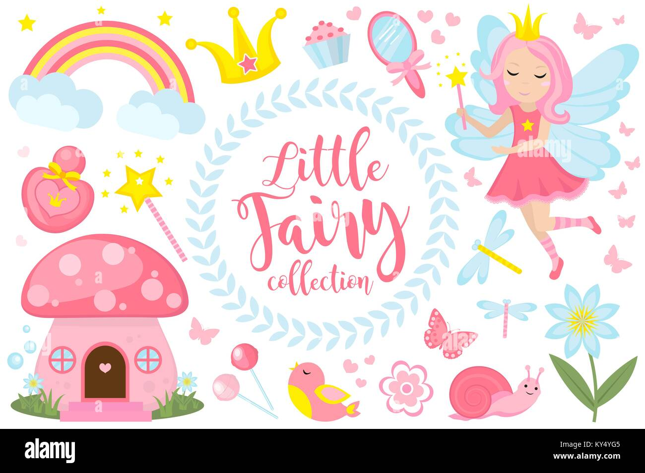 Little fairy set, cartoon style. Cute and mystical collection for girls with fairytale forest princess, magic wand, - Stock Vector