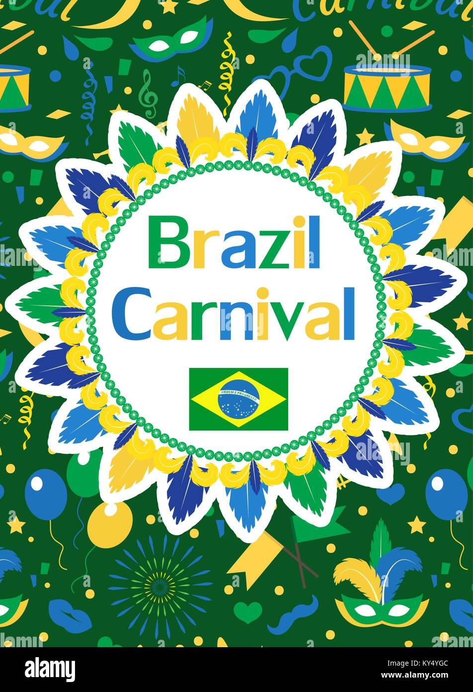 Welcome Brazil Carnival Poster Invitation Flyer Templates For Your Design Brazilian Festival Masquerade Background Rio De Janeiro Travel Concept