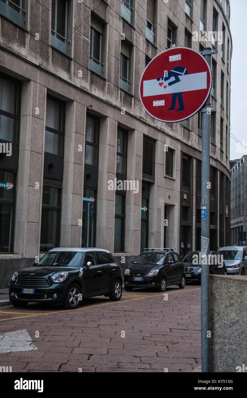 traffic signal, love, borsa milano, italy, lombardy, europe - Stock Image