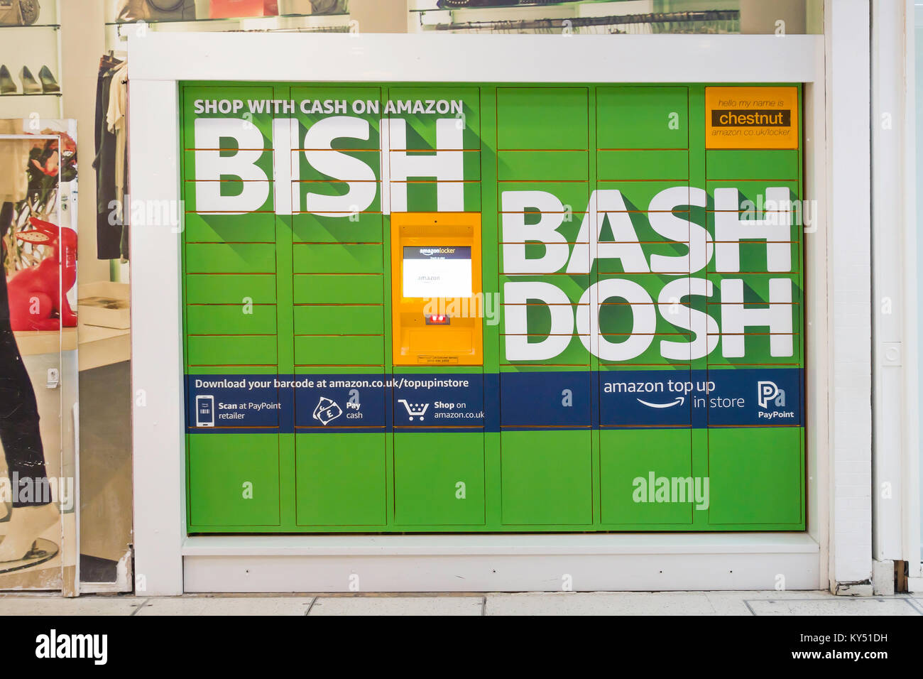 Chestnut an Amazon Locker for delivery of goods ordered on line with instructions how to pay for the goods with - Stock Image