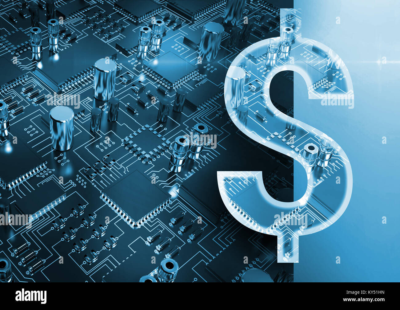 Composite image of illustrative image of dollar sign - Stock Image