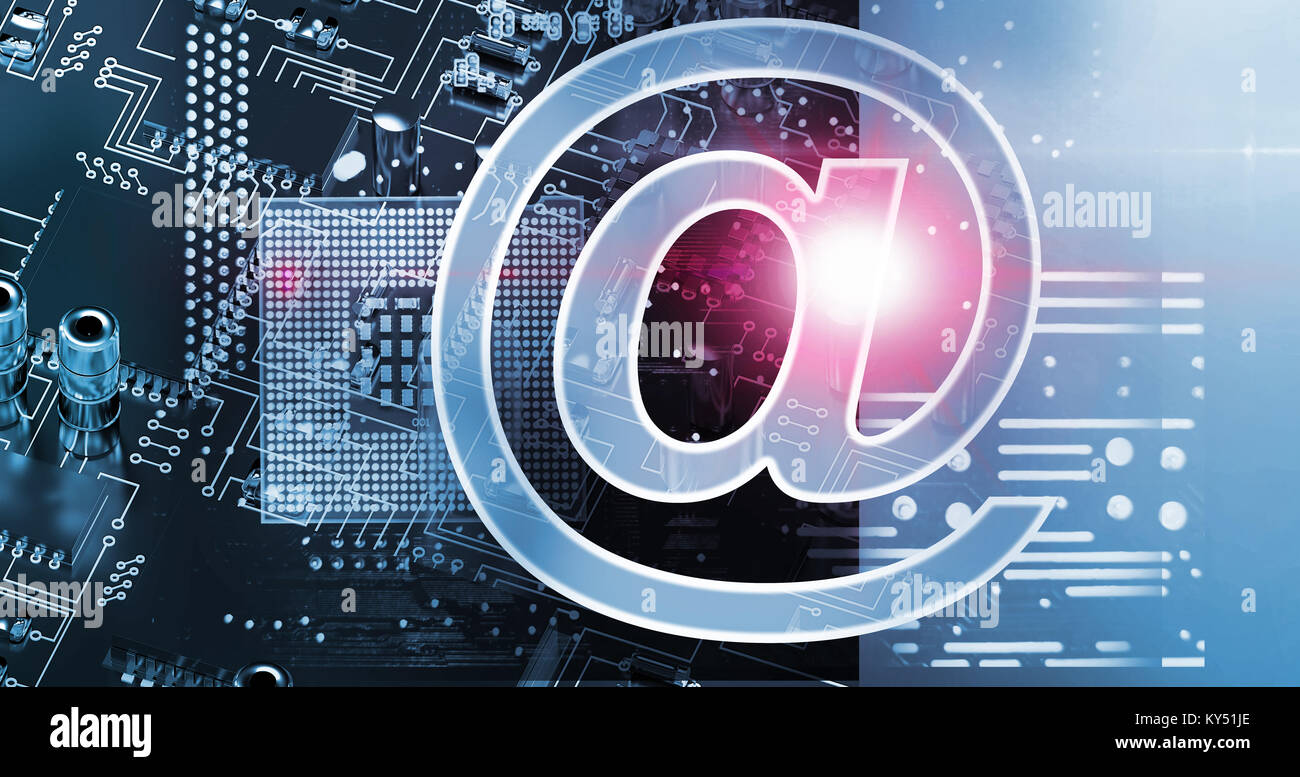 Composite image of at e-mail symbol - Stock Image
