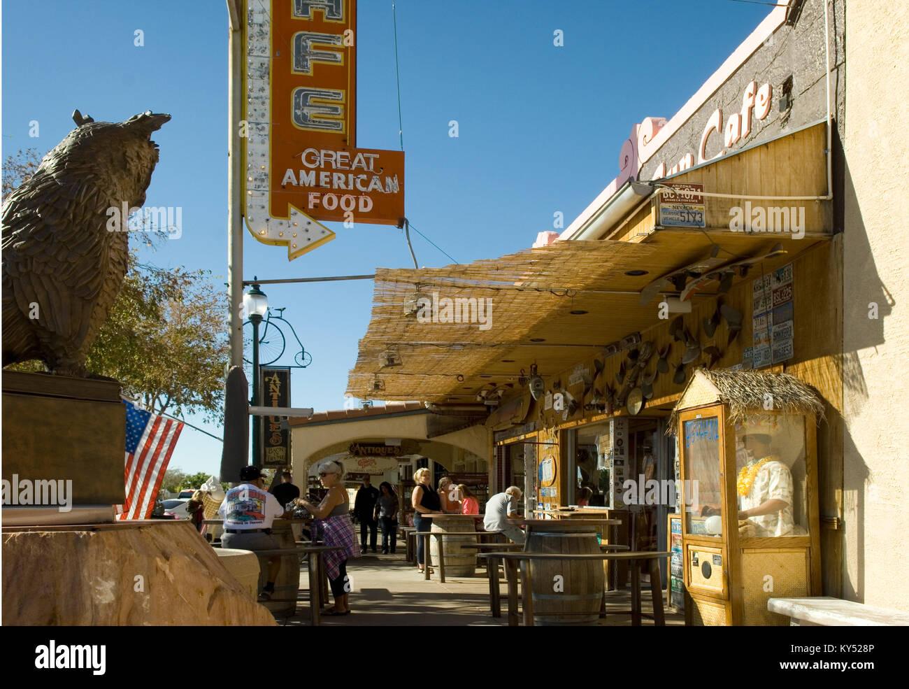 Sidewalk Cafe at Boulder City, Nevada, USA. - Stock Image
