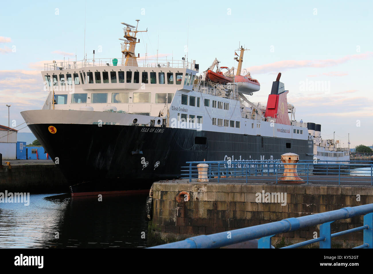 Caledonian MacBrayne roll-on / roll-off ferry, MV Isle of Lewis (Eilean Leòdhais), at James Watt Dock, Greenock, - Stock Image