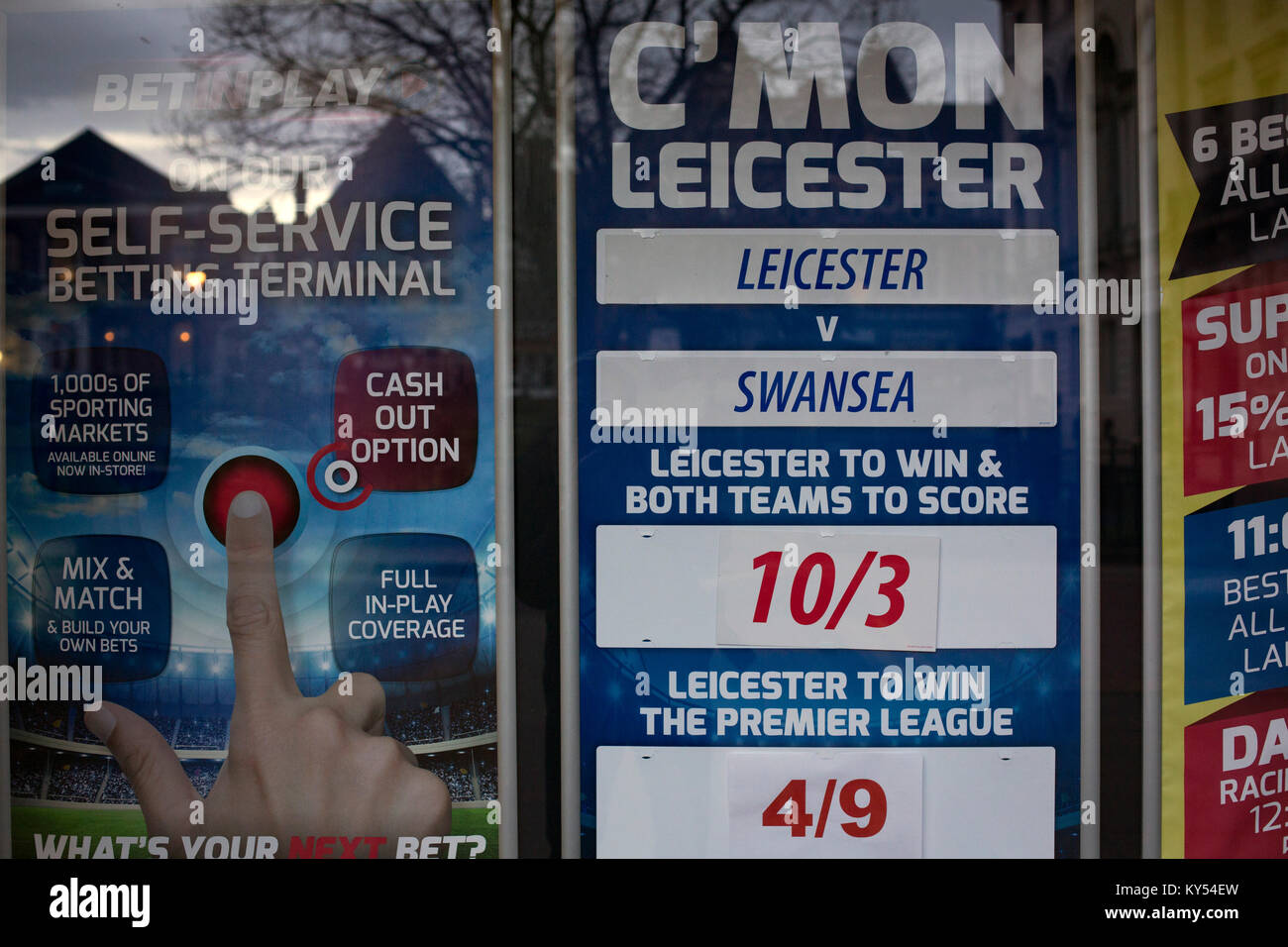 A window display in a betting shop in the city of Leicester in the English Midlands shows the odds on the following - Stock Image