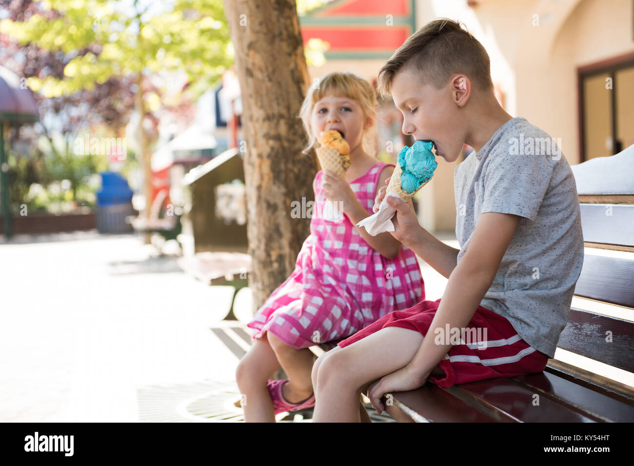 Sibling eating ice cream on bench - Stock Image