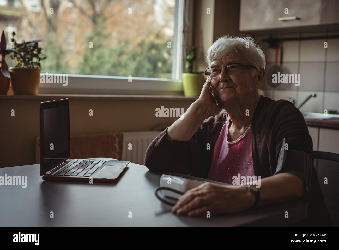 Senior woman sitting with blood pressure machine and a laptop - Stock Image