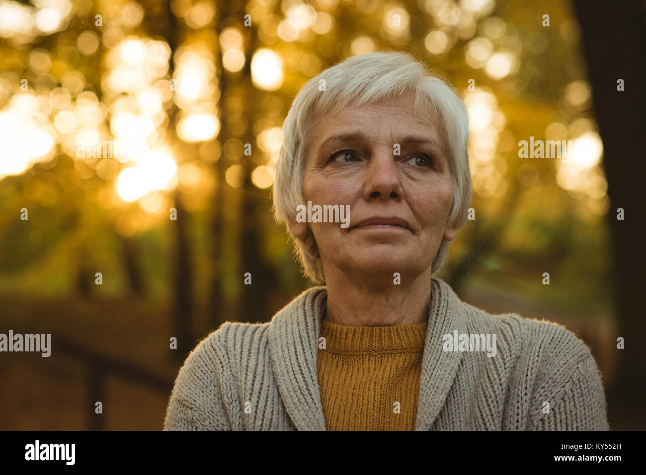 Thoughtful senior woman in autumn park - Stock Image