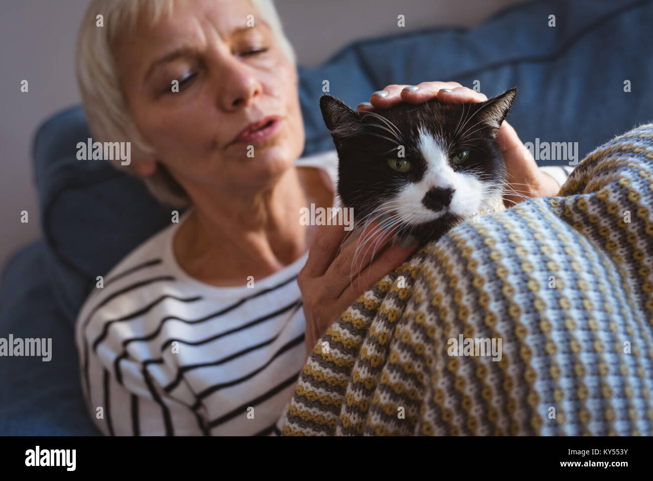 Senior woman sitting on sofa while stroking her cat at home Stock Photo