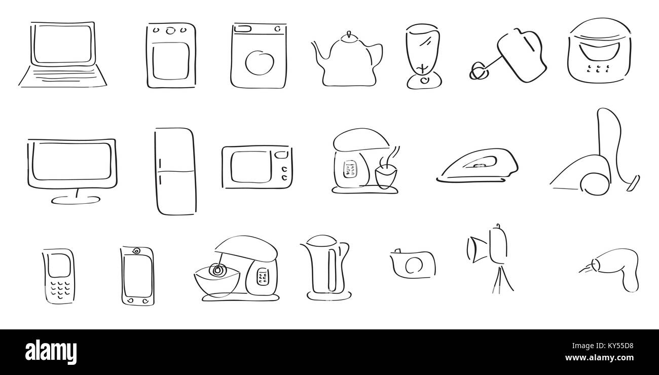 hand-drawing icons of home appliances - Stock Image