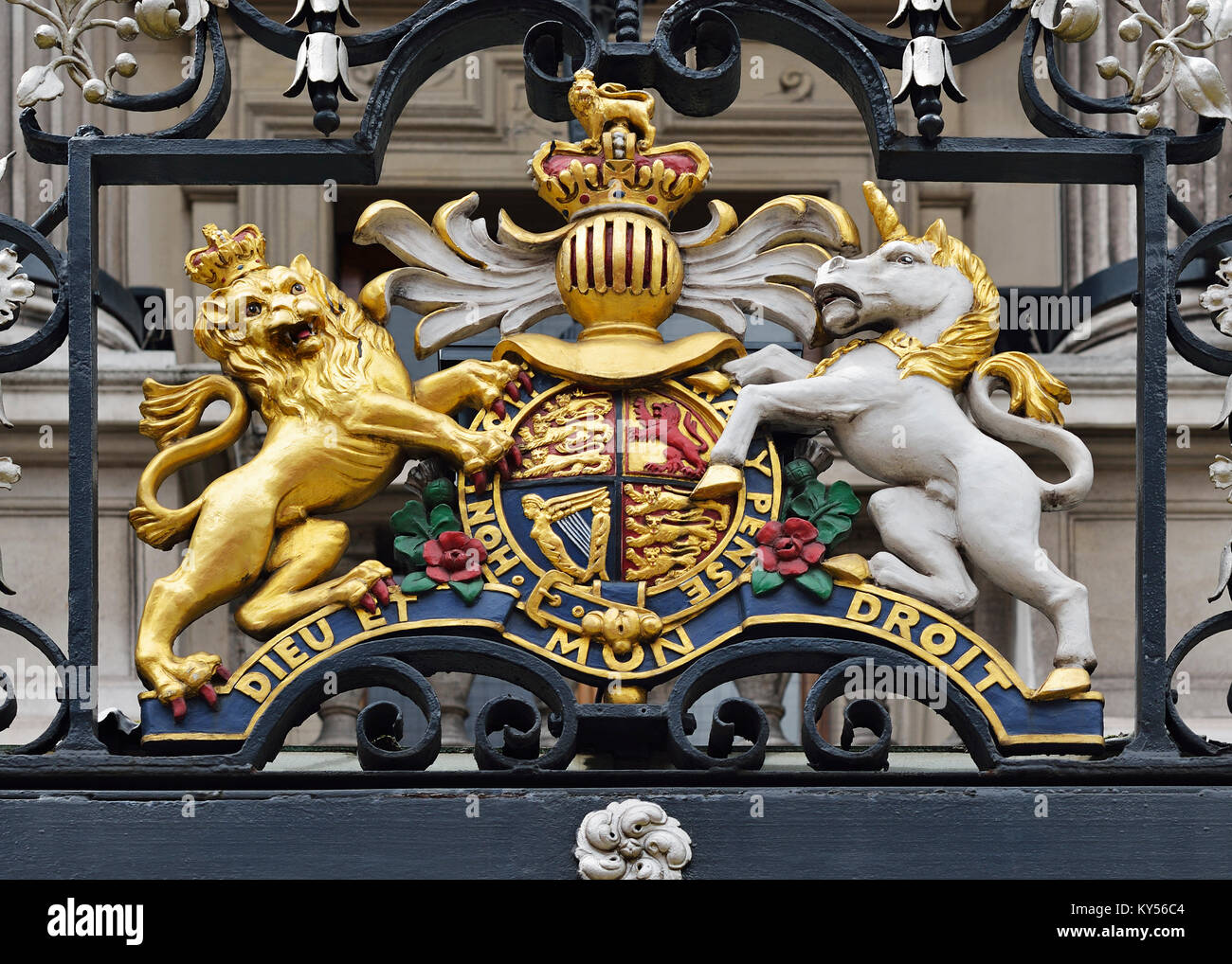 Royal Coat of Arms on Her Majesty's Theatre, London, UK - Stock Image