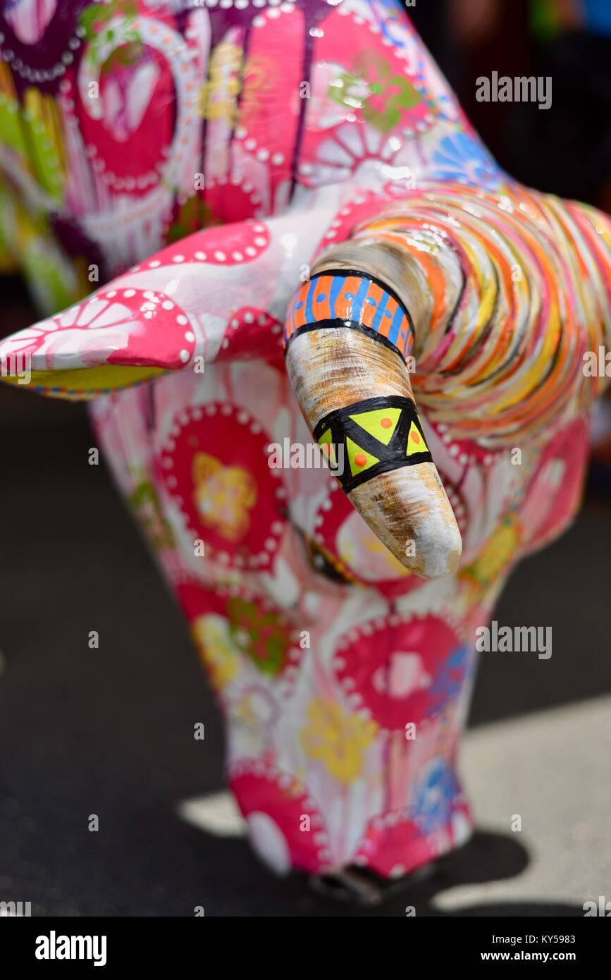 Colourful cows head in the streets of Maleny, Queensland, Australia - Stock Image