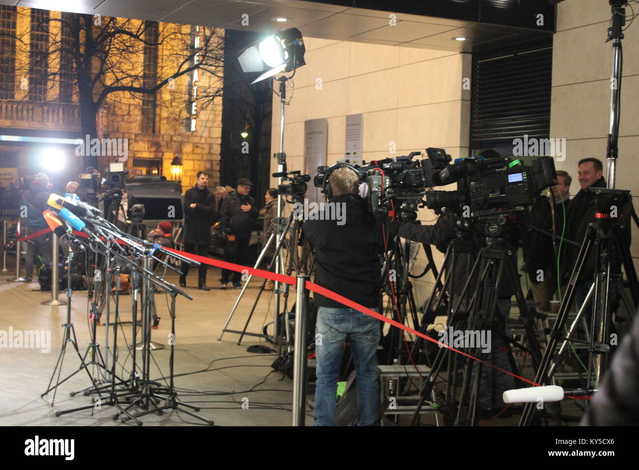 Berlin, Germany. 11th Jan, 2018. Impressions of the Last Day of Sondierungsgespräche in Berlin/Germany, SPD - Stock Image
