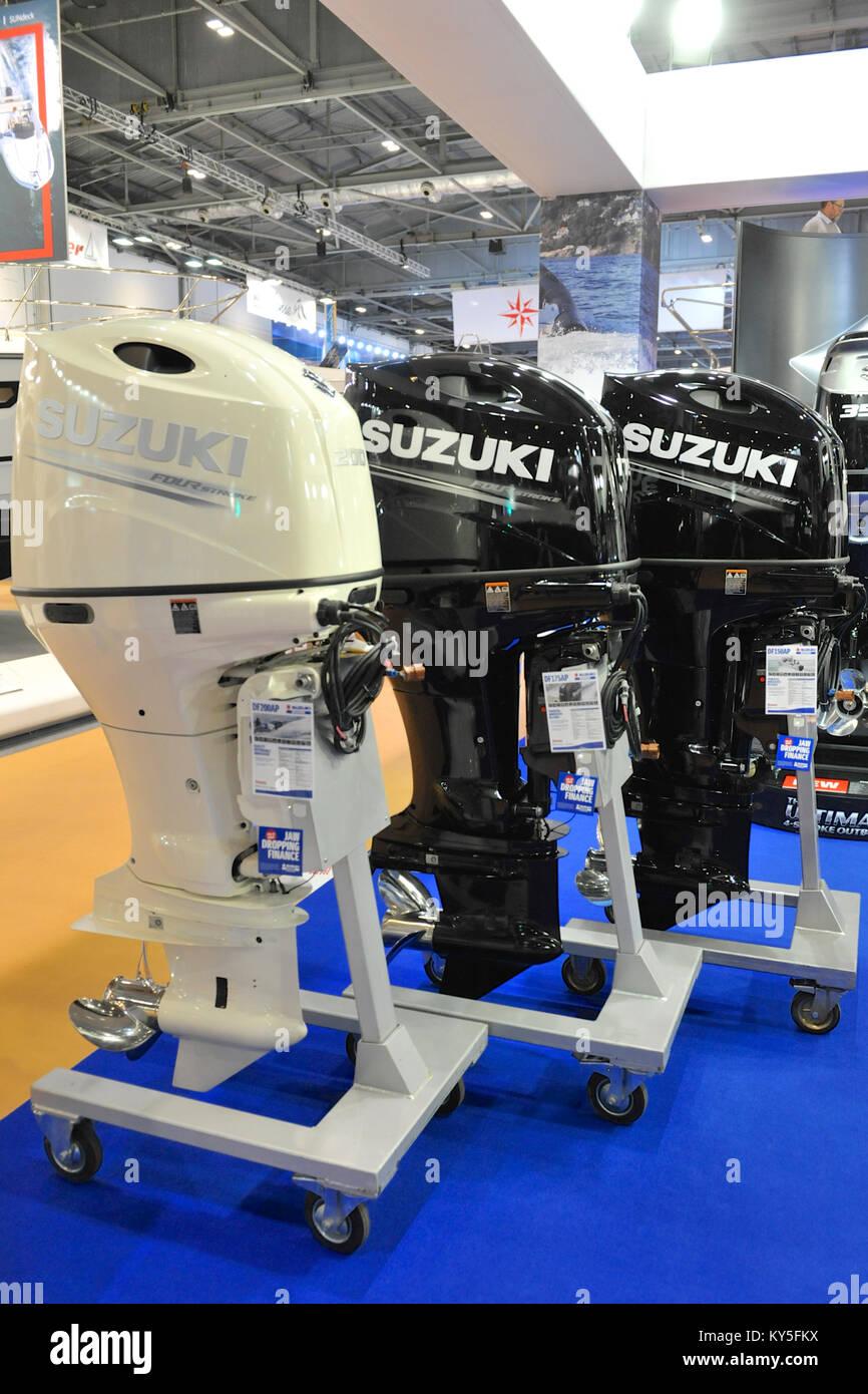 London, UK  12th January, 2018  Suzuki Outboard Engines on