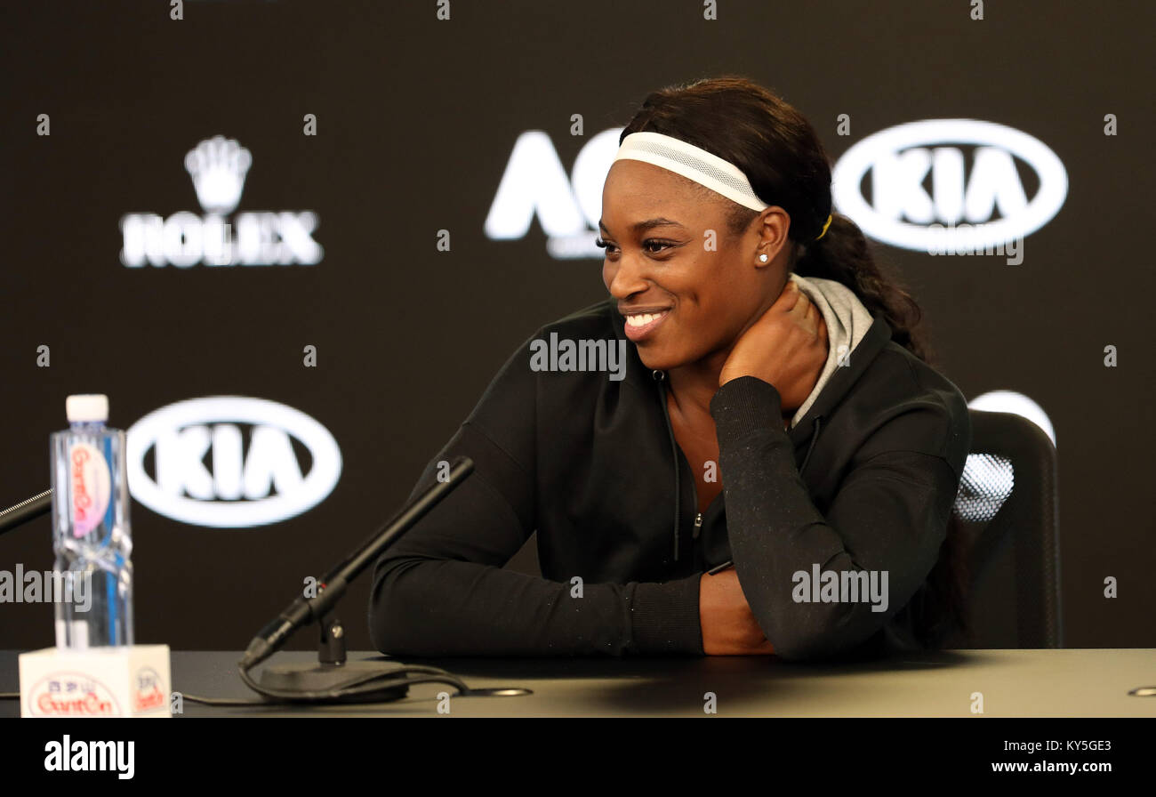 (180113) -- Melbourne, Jan. 13, 2018(Xinhua) -- The United States' Sloane Stephens answers questions during - Stock Image