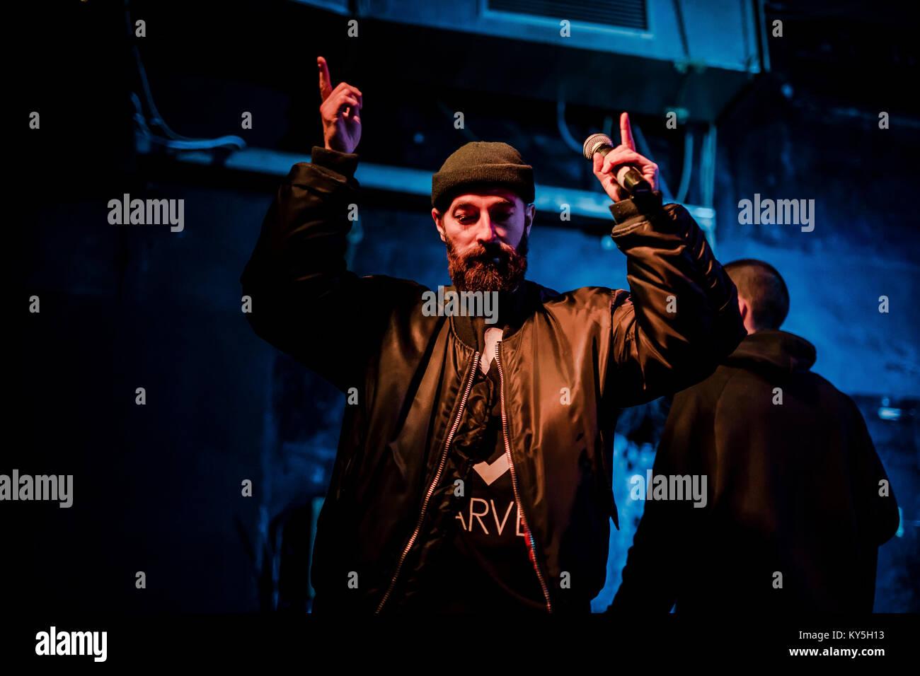Bologna, Italy 12th Jan 2018  The hip hop trap duo italian