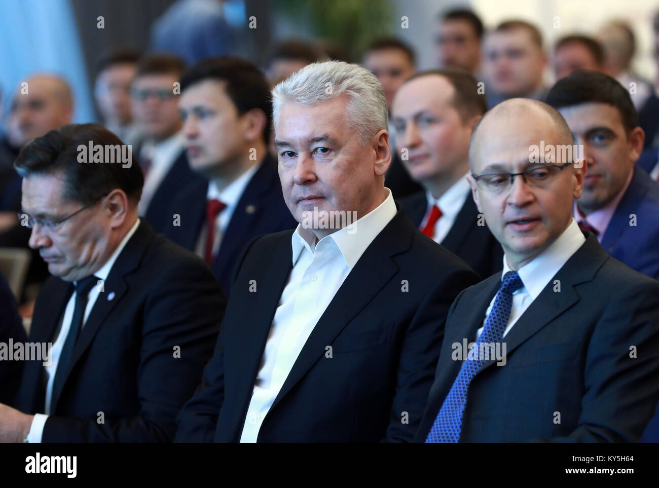 Moscow, Russia. 13th Jan, 2018. Rosatom State Corporation CEO Alexei Likhachev, Moscow Mayor Sergei Sobyanin, and - Stock Image