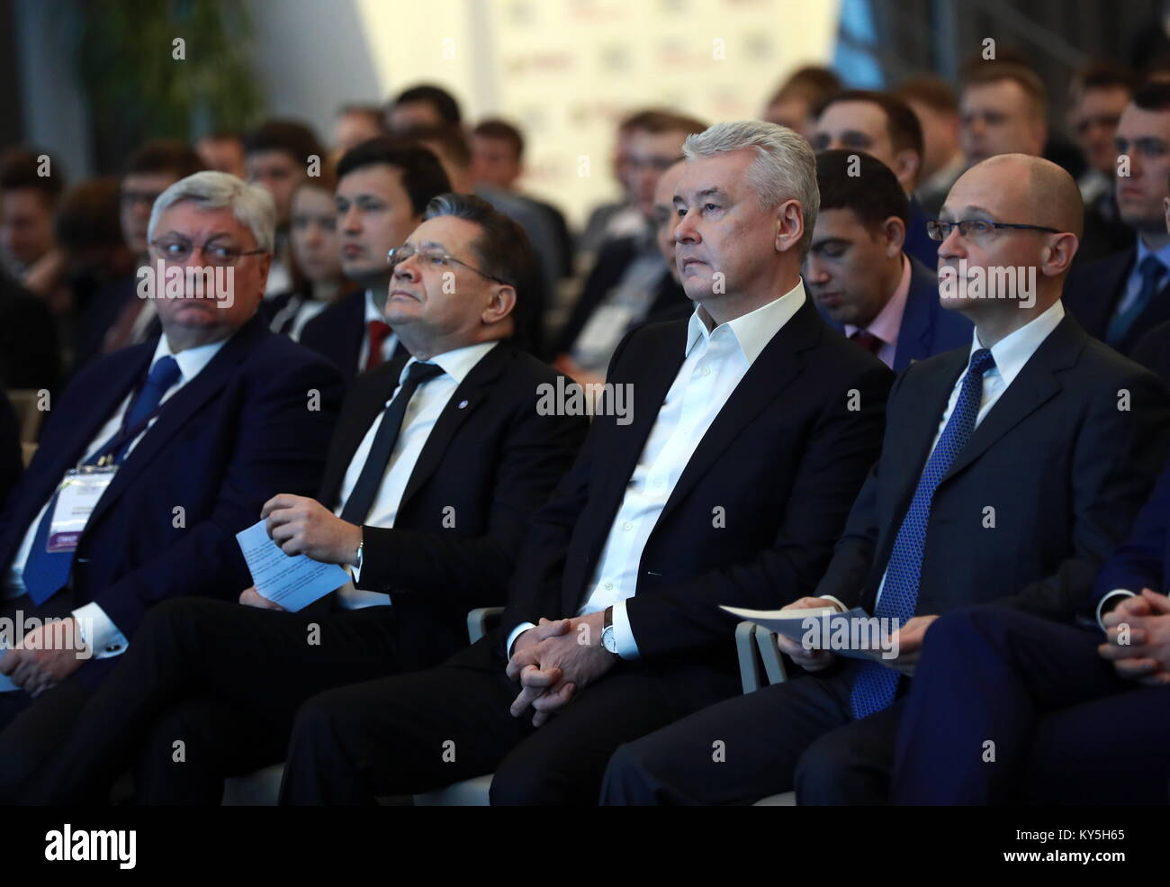 Moscow, Russia. 13th Jan, 2018. MGIMO University Rector Anatoly Torkunov, Rosatom State Corporation CEO Alexei Likhachev, - Stock Image