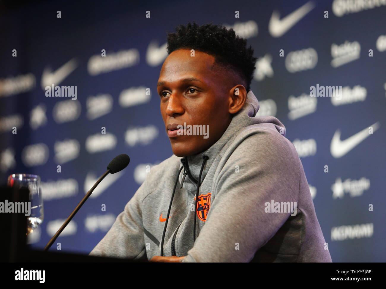 Barcelona, Spain. 13th Jan, 2018. Camp Nou, Barcelona, Spain; New FC Barcelona signing Yerry Mina press conference - Stock Image