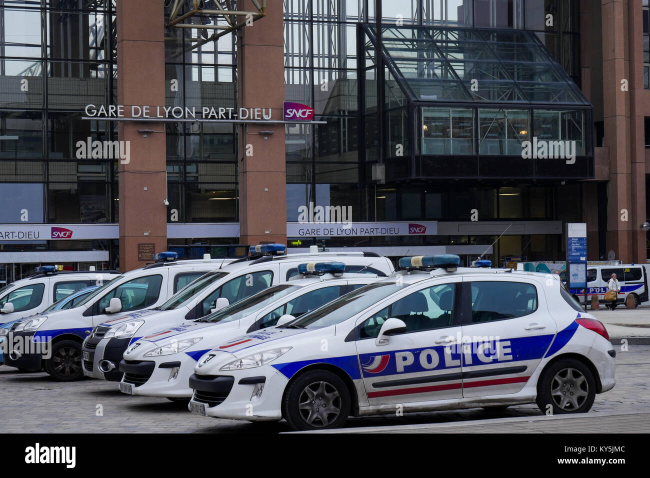 LYON, FRANCE, JANUARY 13, 2018: A heavy police disposal was settled at Part-Dieu Railway station, in Lyon (Central - Stock Image