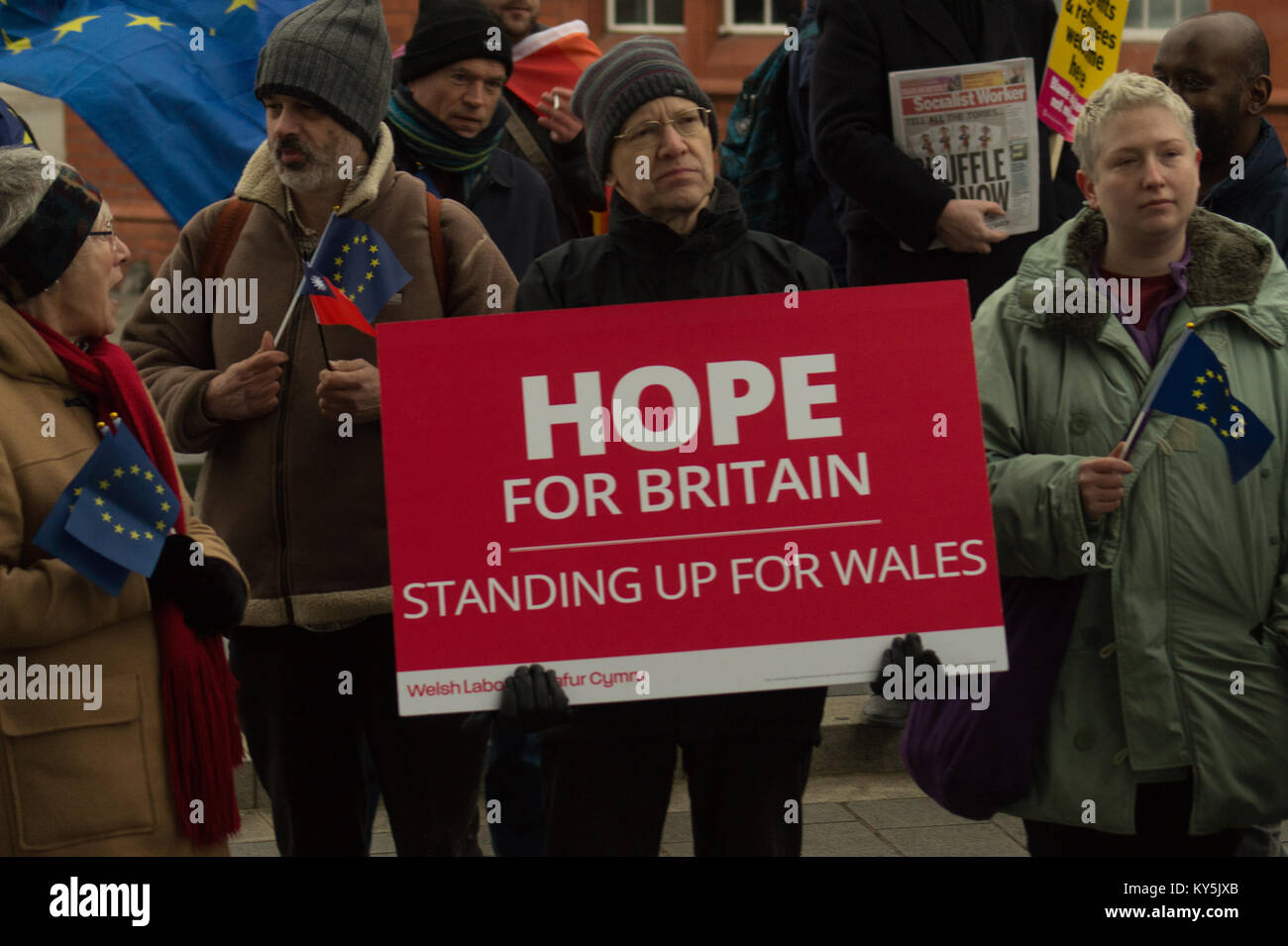 Cardiff, UK. 13th January, 2018. A small number of members of the group Make Britain Great Again gathered outside - Stock Image