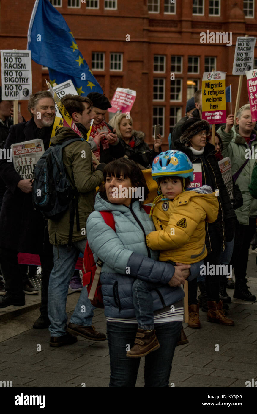 Cardiff, UK. 13th January, 2018. Counter protestors are seen as a small number of members of the group Make Britain - Stock Image