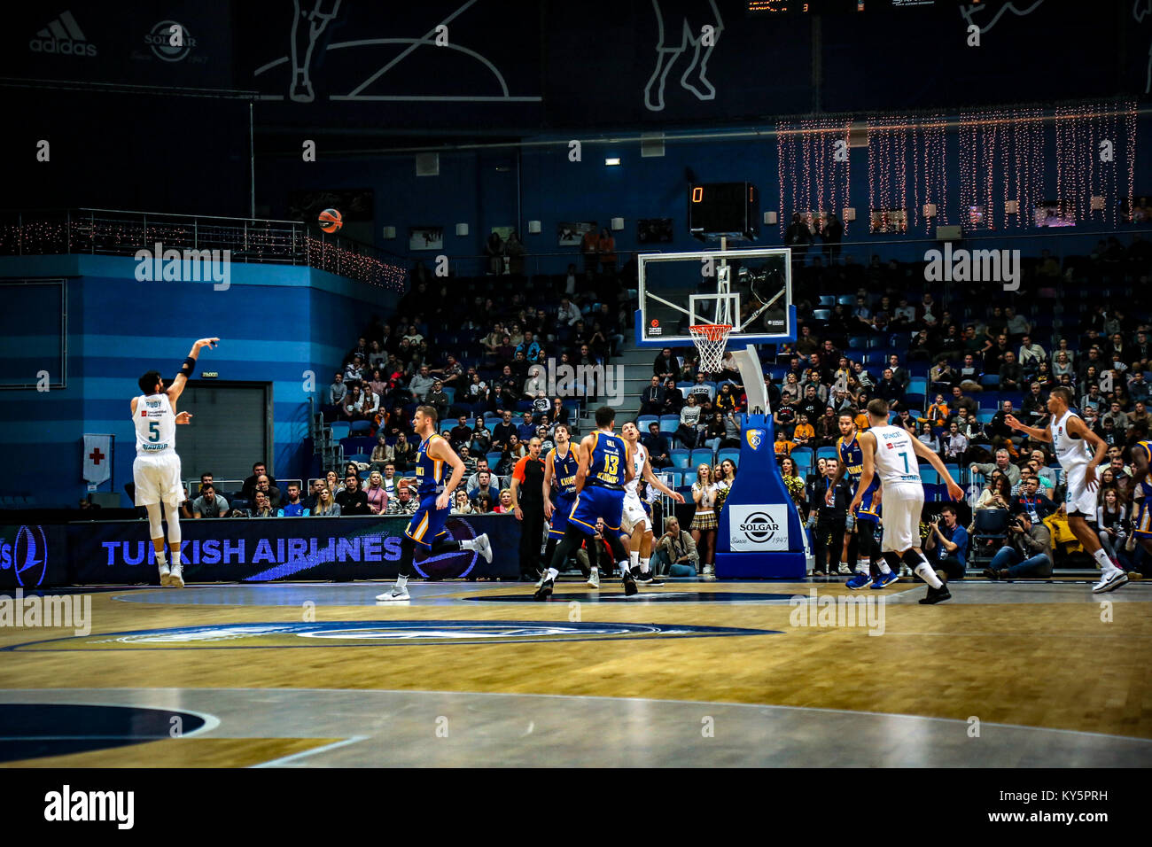 Moscow, Russia. 12th Jan, 2018. Rudy Fernandez, #5 shoots a jumpshot of Real Madrid during the 2017/2018 Turkish - Stock Image