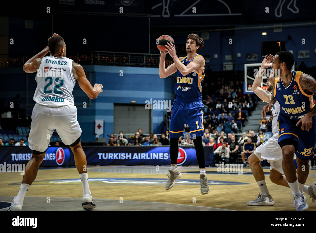 Moscow, Russia. 12th Jan, 2018. Alexei Shved, #1 of Moscow Khimki shoots a jumpshot against Walter Tavares, #22 - Stock Image