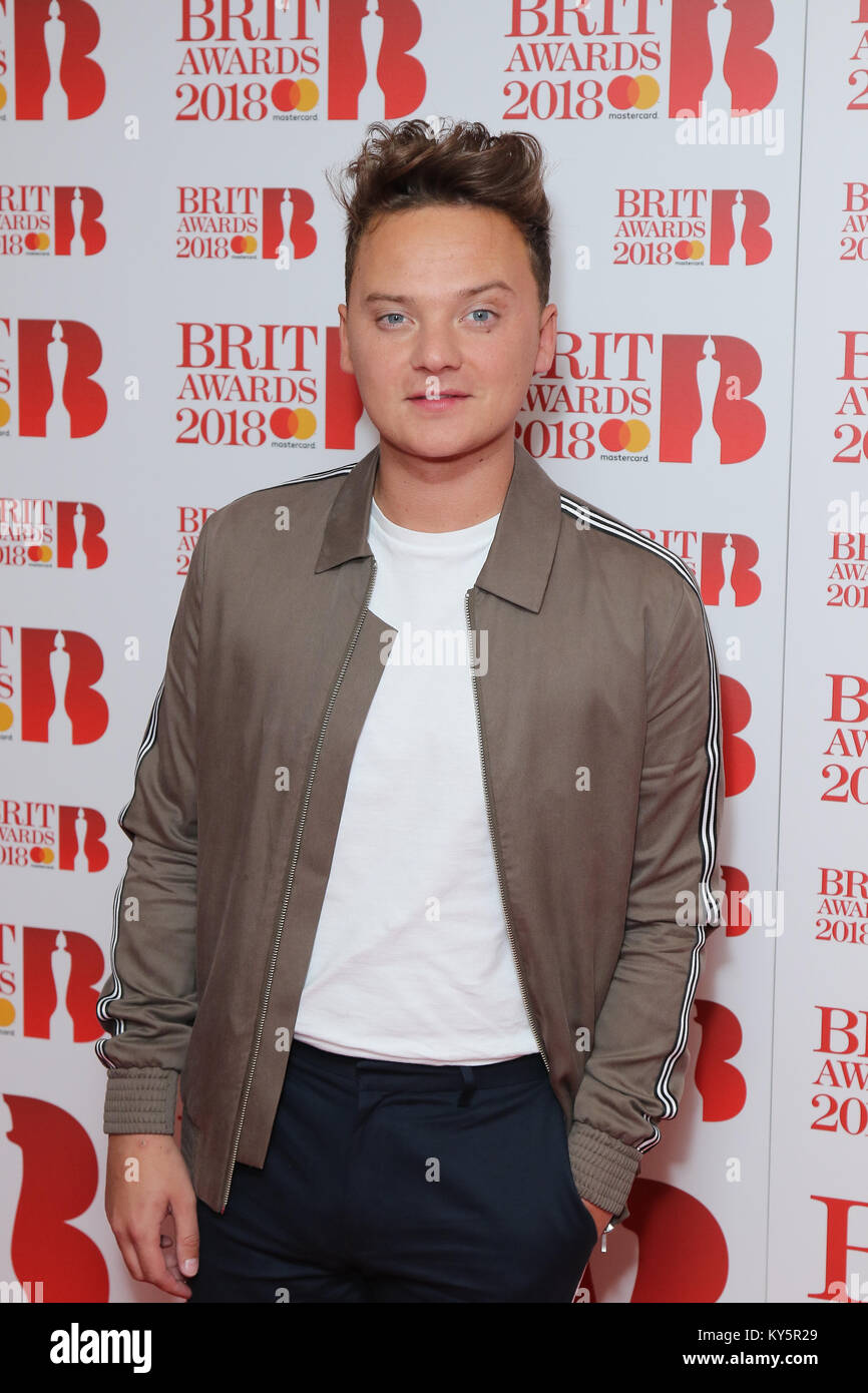 London, UK. 13th January, 2018. Conor Maynard Brit Awards 2018 Nominations Event at ITV Studios on South Bank in - Stock Image