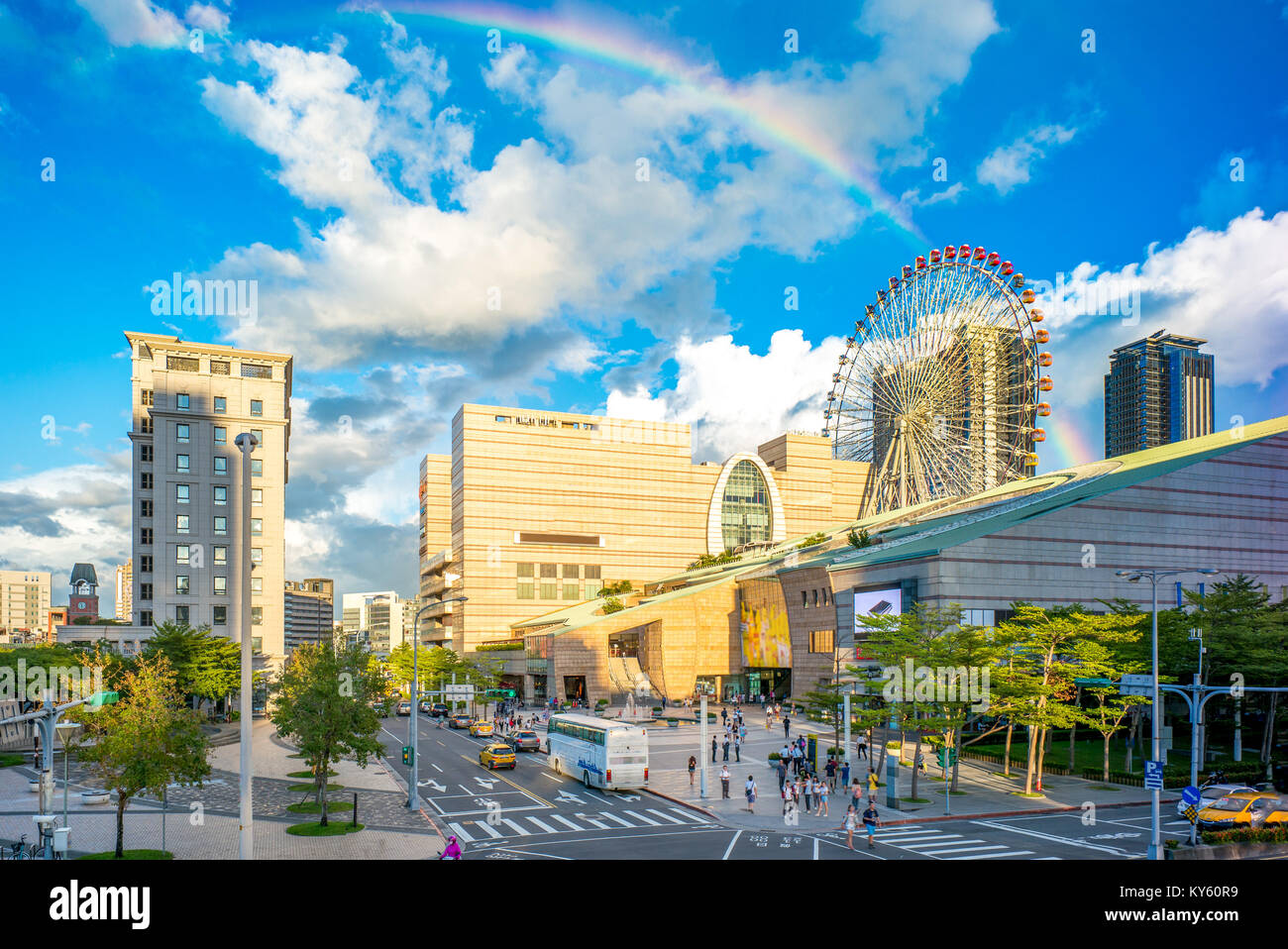 landscape of taipei city with rainbow - Stock Image