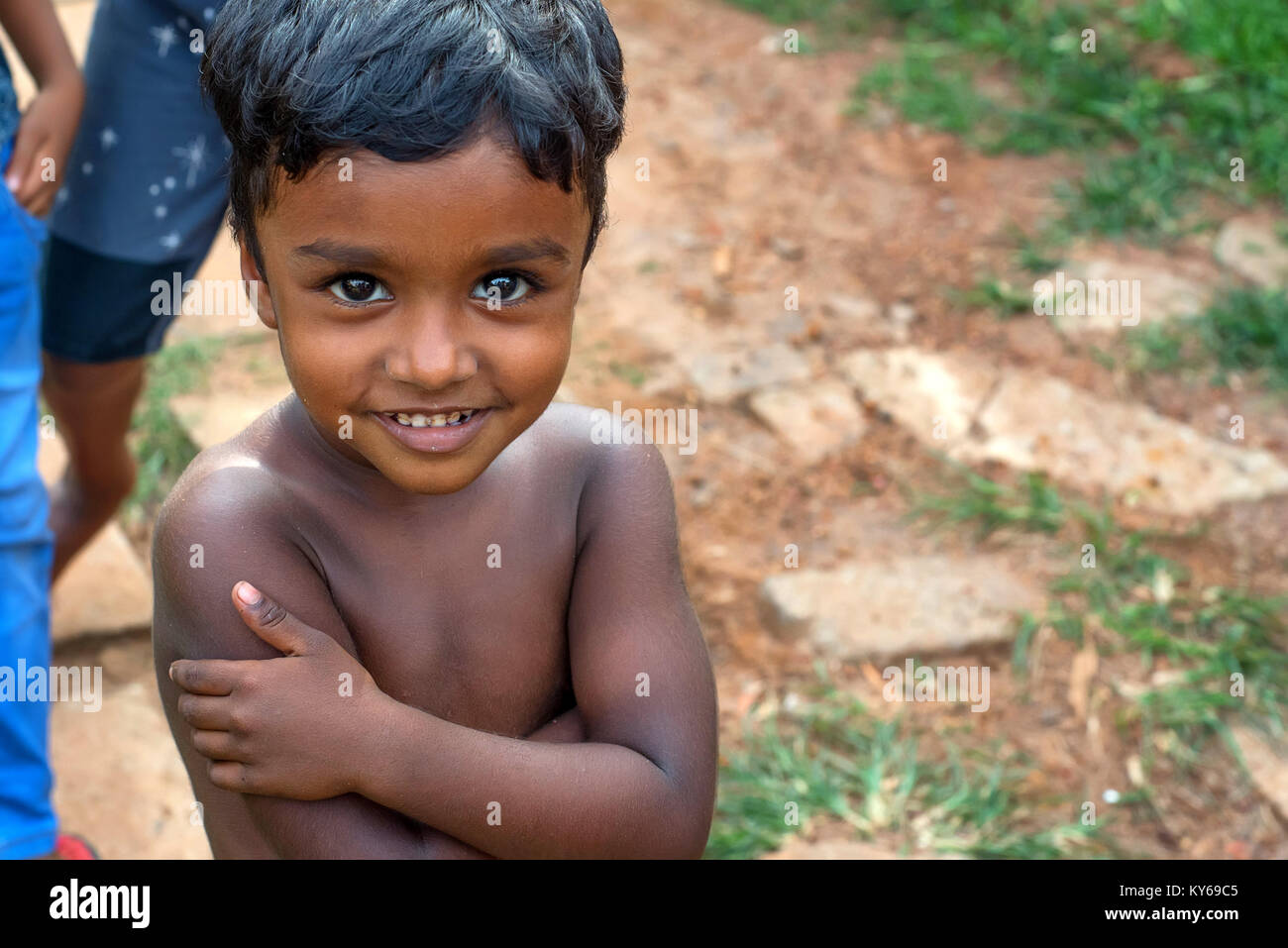 COLOMBO, SRI LANKA - CIRCA DECEMBER 2016: Portrait of unidentified small smiling boy - Stock Image