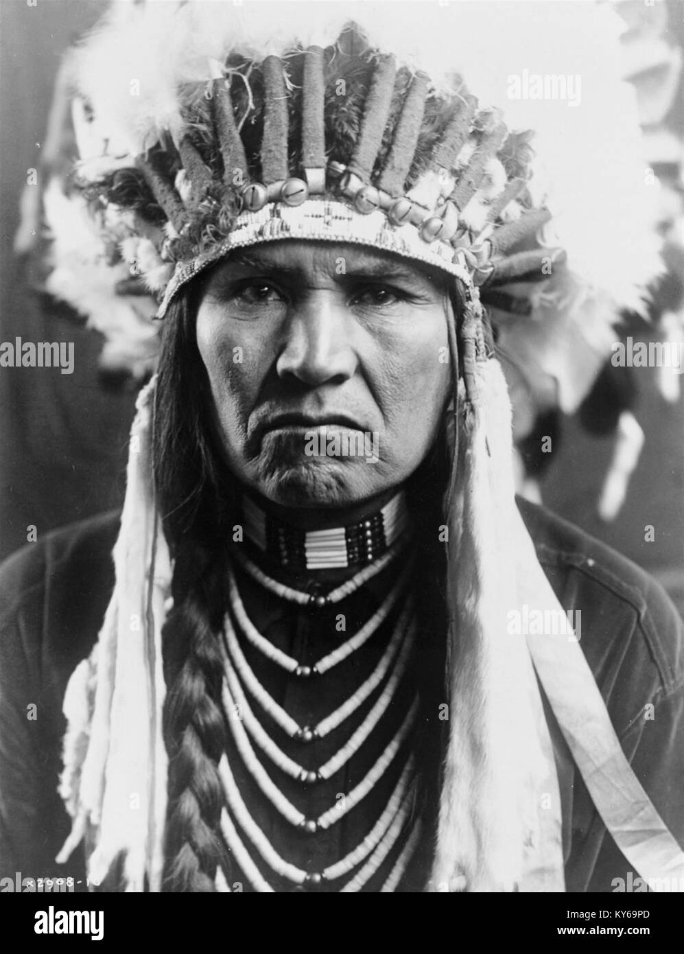 Black and white portrait of native american indian chief in stock