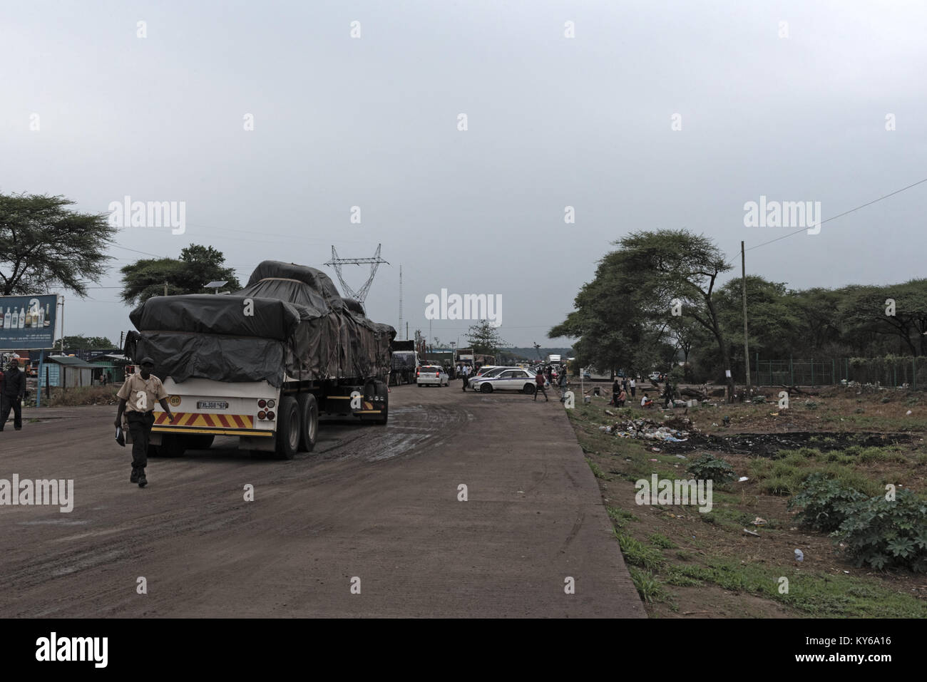 Ferry terminal and cross-border Kazungula at the Zambezi River in Zambia - Stock Image