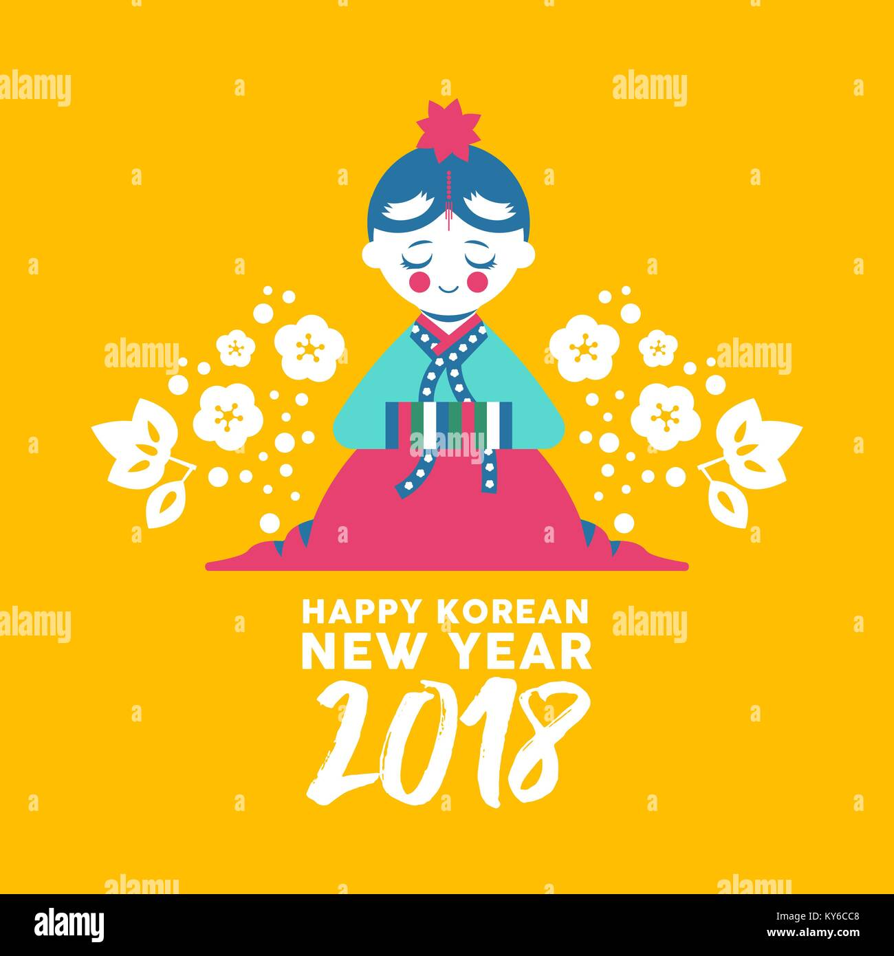 Happy korean new year 2018 greeting card cute girl bowing for stock happy korean new year 2018 greeting card cute girl bowing for happiness and good fortune kid in colorful traditional hanbok dress with text quote f m4hsunfo