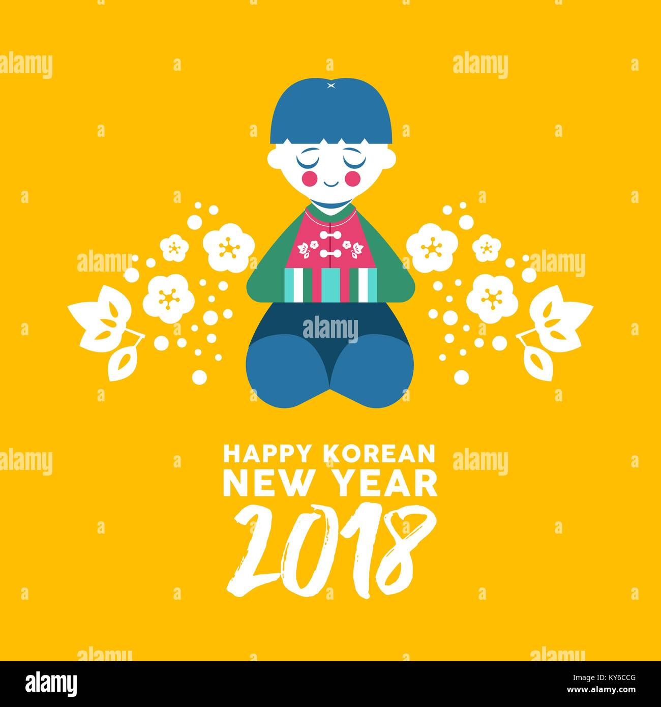 Happy korean new year 2018 greeting card cute boy bowing for stock happy korean new year 2018 greeting card cute boy bowing for happiness and good fortune kid in colorful traditional hanbok dress with text quote fl m4hsunfo