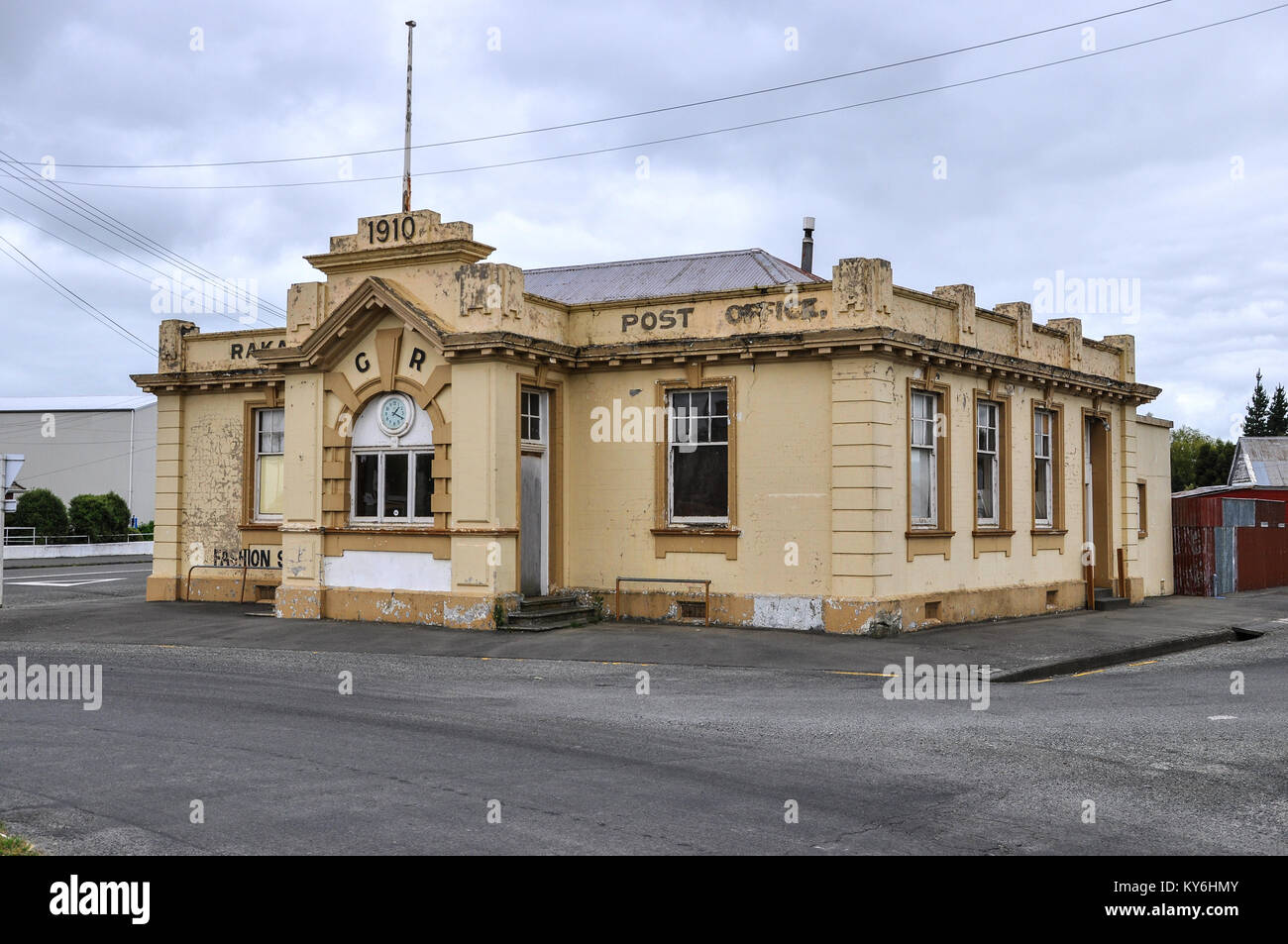 Old Post Office Rakaia South Island New Zealand. Dated 1910. Decaying.  Space for copy - Stock Image