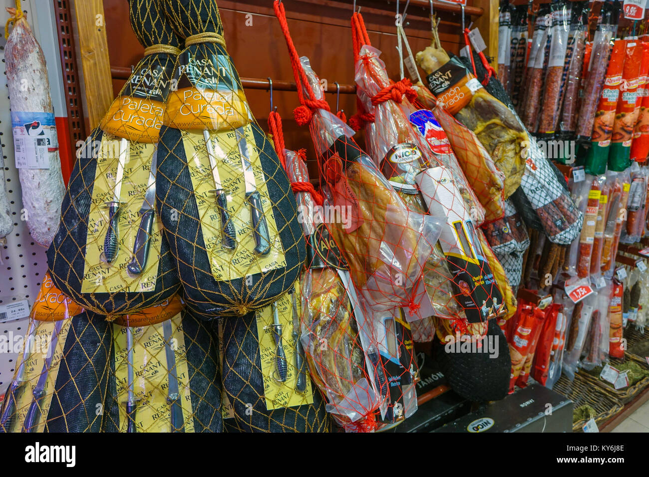 Packed processed meat products in packets, Pas de la Casa, Andorra - Stock Image