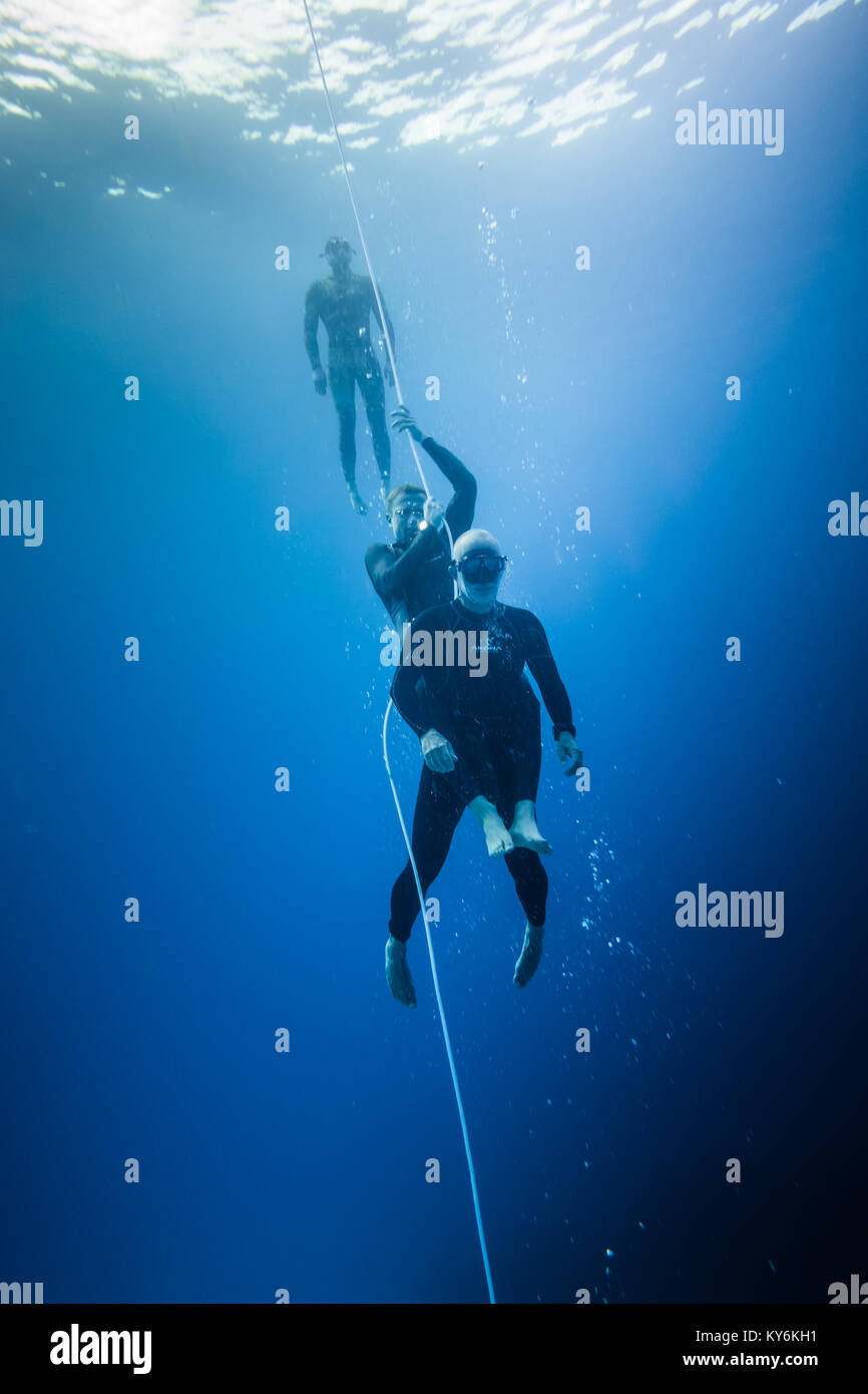 SAN ANDRES ISLAND, Colombia _ Circa March 2017. Freediving Rescue Technique and Simulation of a Diver after Blackout. - Stock Image