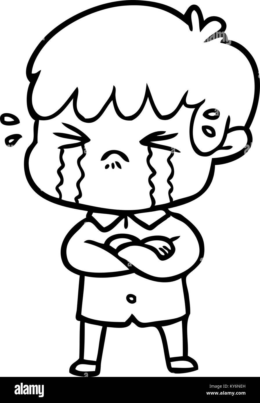 Crying boy cartoon stock image