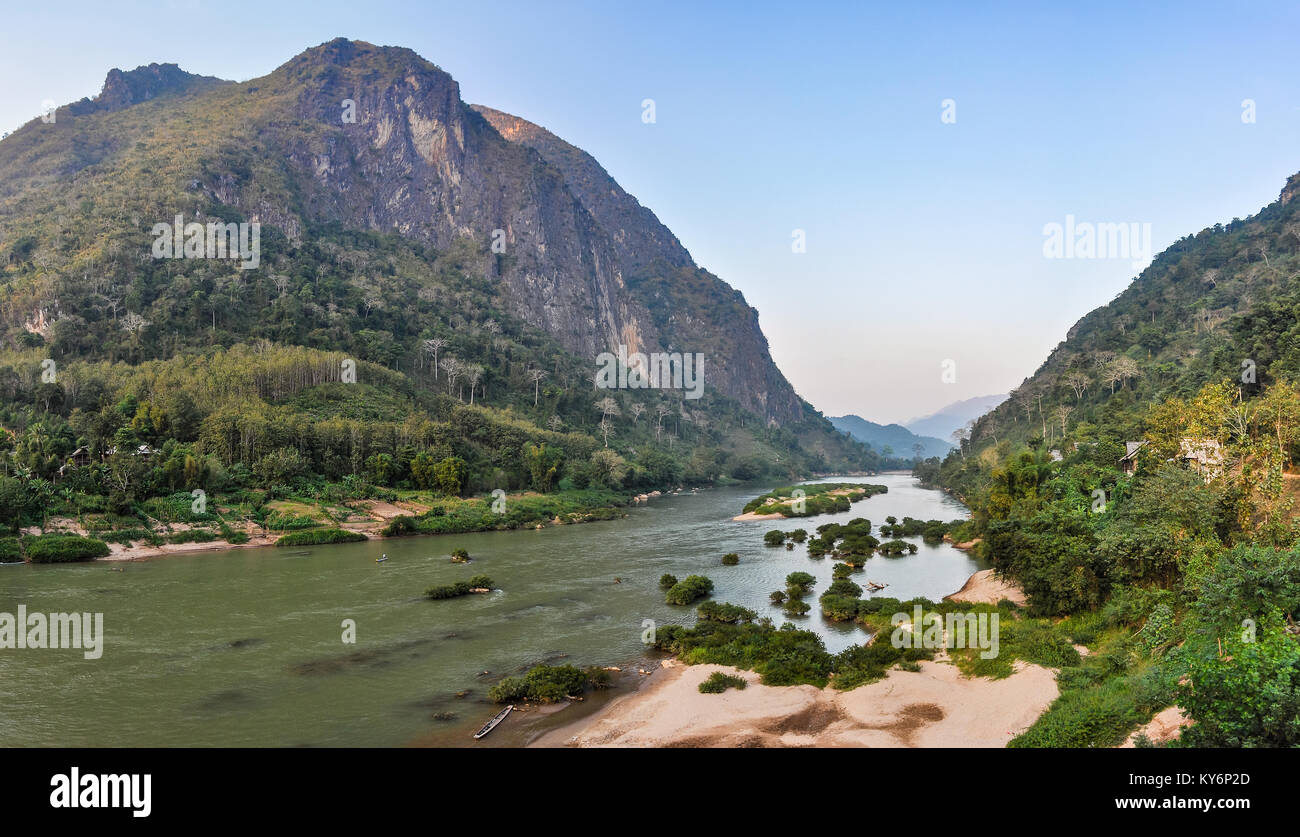 Riverside shot on the Nam Ou River in Nong Khiaw, Laos - Stock Image