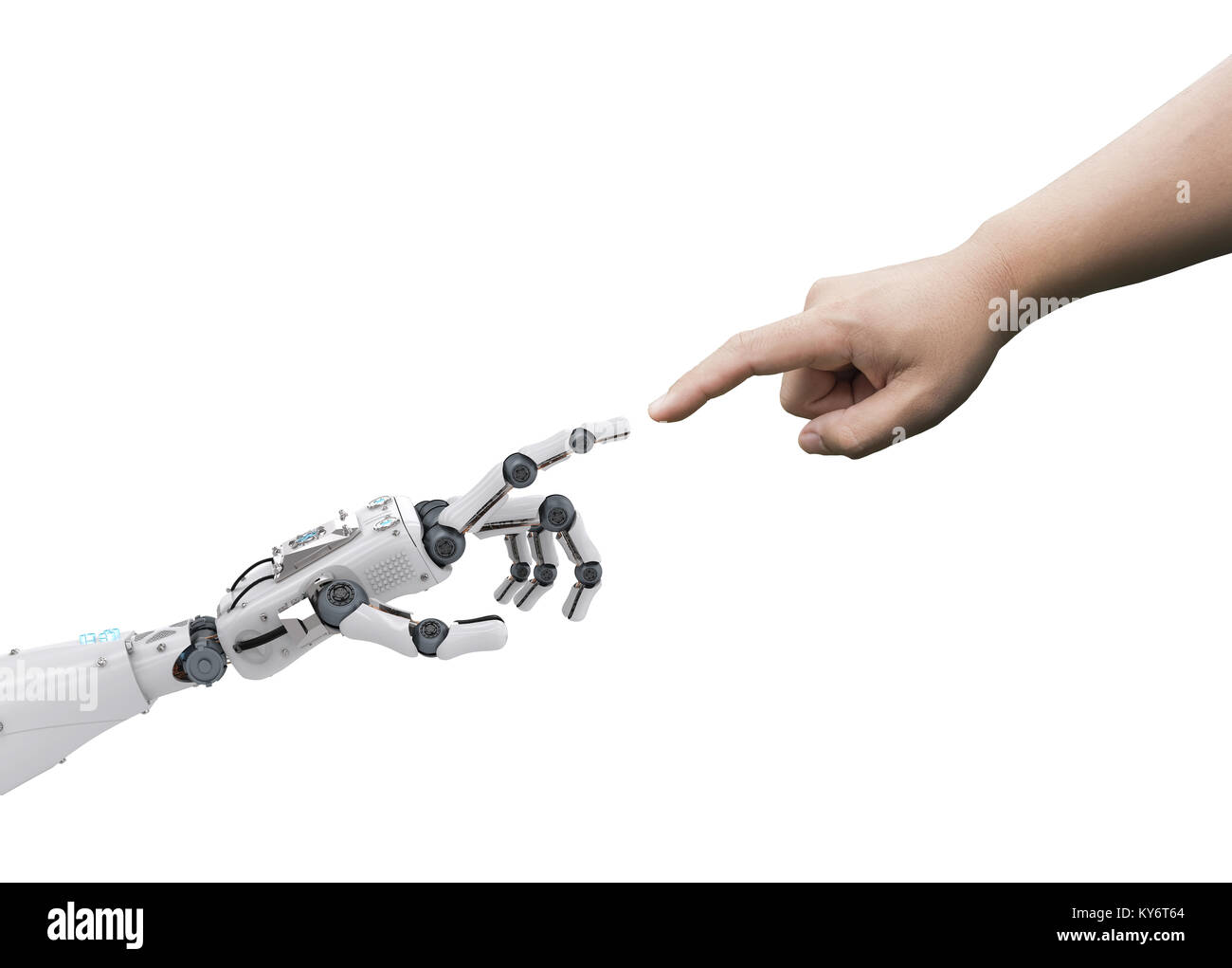 connection concept with human finger connect to 3d rendering robot finger - Stock Image