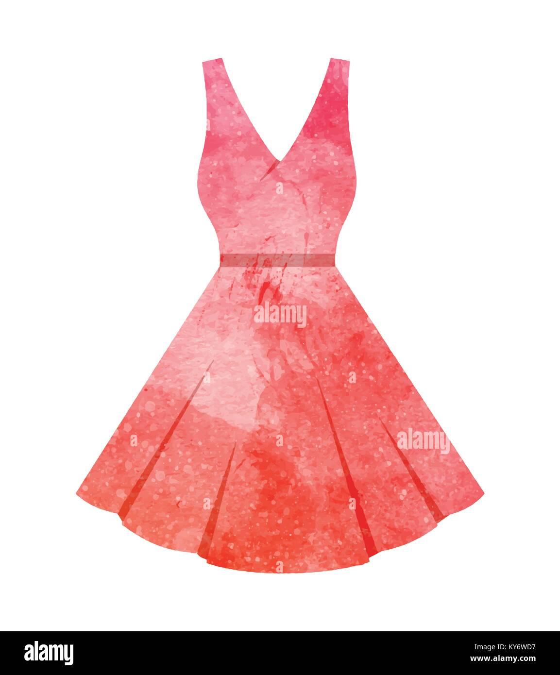 132037c15ce7 Watercolor Dress on white Stock Vector Art & Illustration, Vector ...
