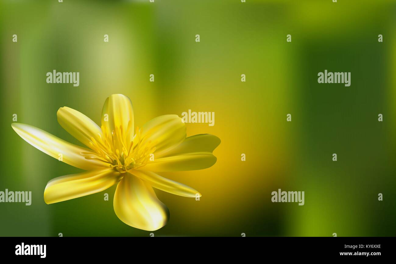 A romantic floral background. Flower. Rose yellow closeup on green. Mesh vector. - Stock Vector