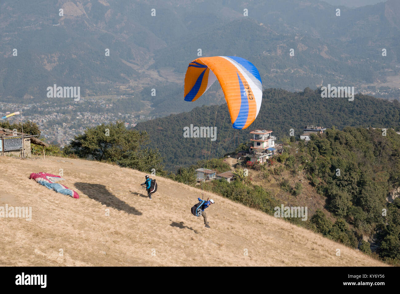 Paragliding launching zone at Sarankot, Pokhara, Nepal - Stock Image