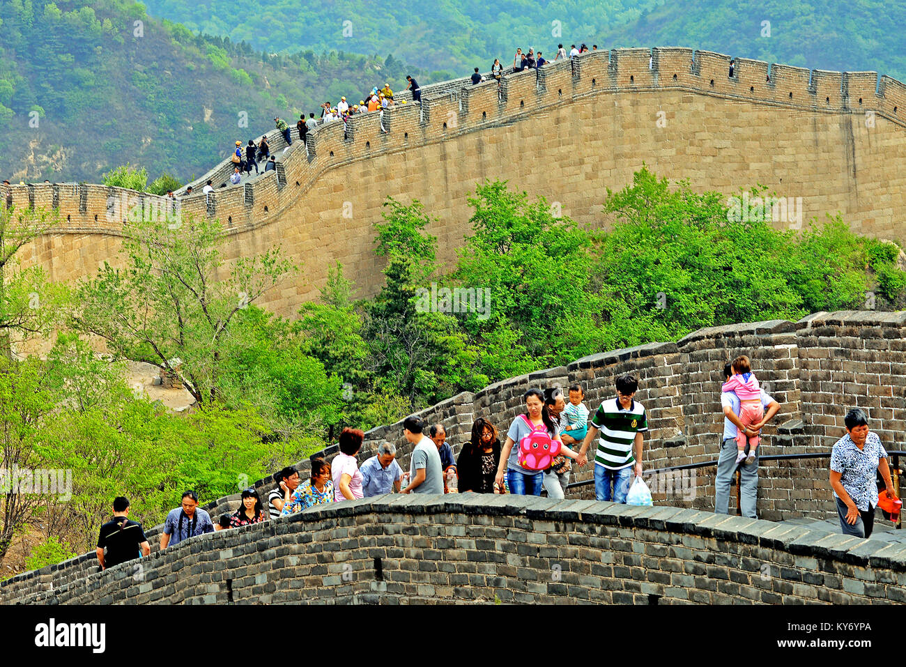 tourists on The great wall, Badaling, China - Stock Image