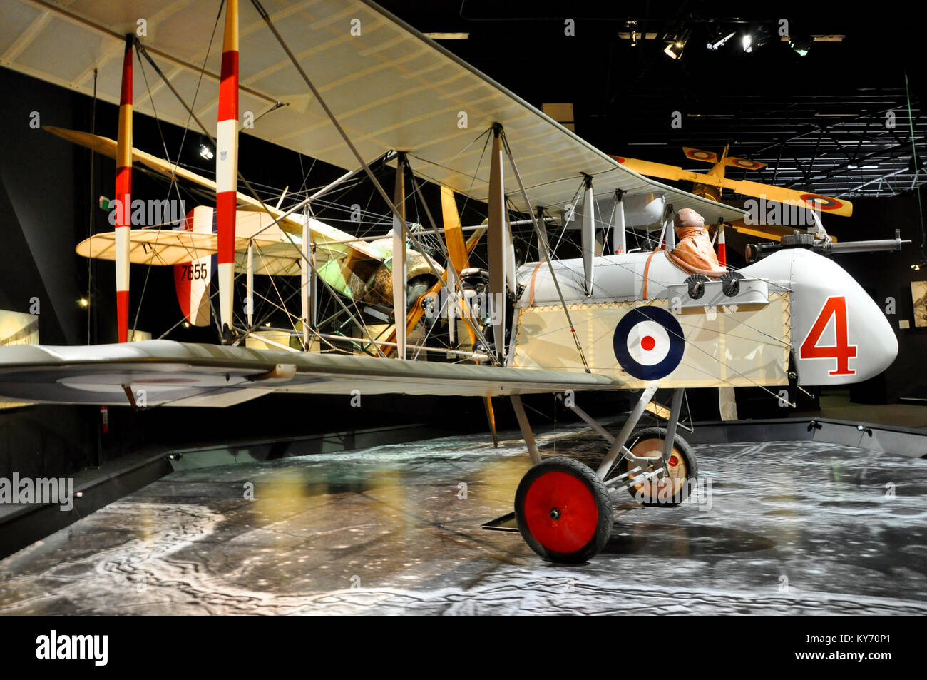Airco DH2 in a Knights of the Sky diorama in Omaka Aviation Heritage Centre museum, South Island, New Zealand. - Stock Image